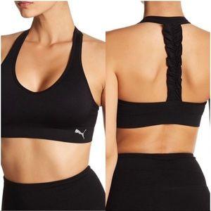 Puma Black Ruffle T Back Sports Bra Size M